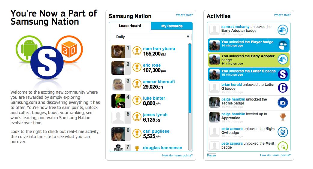 Samsung nation gamification